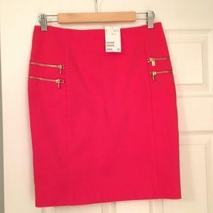 Red pencil skirt w/ gold side zipper embellishment